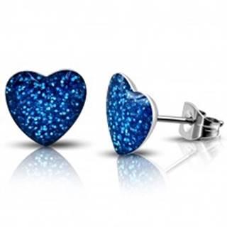 Oceľové náušnice - modré trblietavé srdce, puzetky