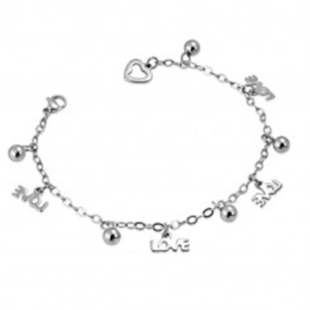 Šperky eshop Oceľový náramok - retiazka s nápisom LOVE a guľôčkami