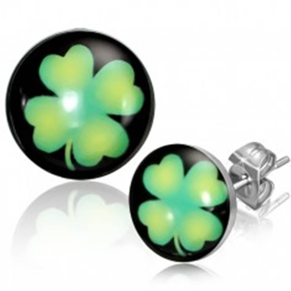Šperky eshop Puzetové náušnice z ocele - kruhy so zeleným štvorlístkom