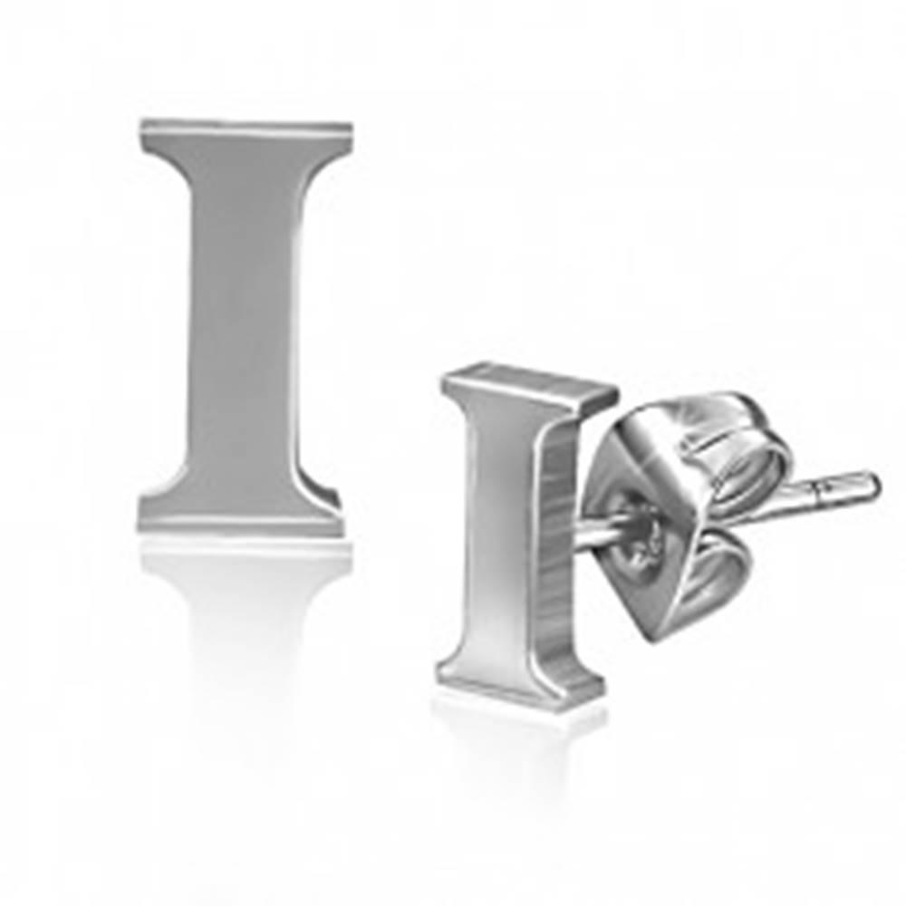 Šperky eshop Puzetové náušnice z ocele - tlačené písmenko I