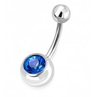 Oceľový piercing do pupku - lesklá guľôčka, gulička s ligotavým modrým zirkónom
