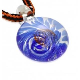 Šnúrkový náhrdelník - farbené sklo so špirálou modrej farby, oranžové vlnky