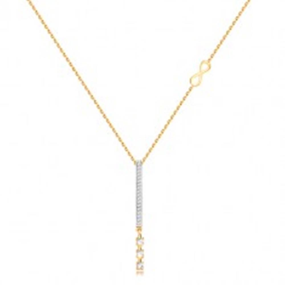 Šperky eshop Náhrdelník zo zlata 375 - úzky prívesok s čírymi zirkónmi, symbol nekonečna