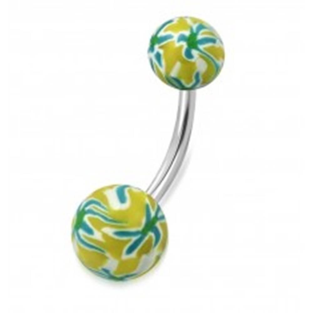 Šperky eshop Piercing do brucha, chirurgická oceľ a FIMO - guličky žltej farby s farebnými kvetmi