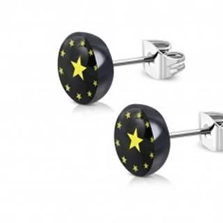 Náušnice z ocele a akrylu - čierny krúžok, päťcípe hviezdičky, číra glazúra