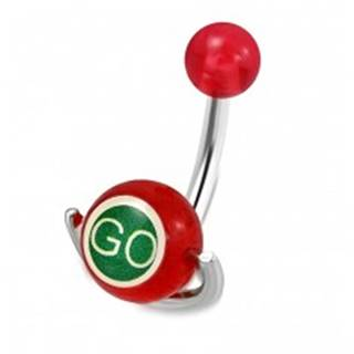 """Piercing do pupku z ocele - červená guľôčka, valček s nápismi """"GO"""" a """"STOP"""""""