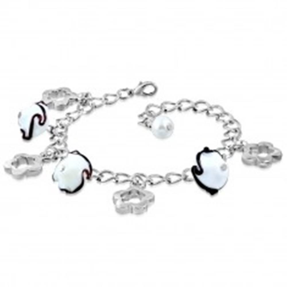 Šperky eshop Náramok striebornej farby - lesklá retiazka, obrysy kvetov, kvety s vlnkami