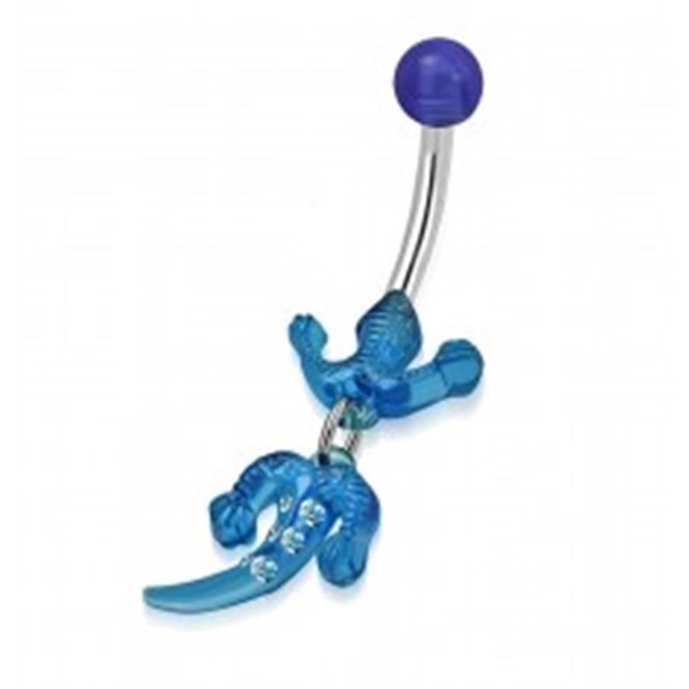 Šperky eshop Piercing do bruška, chirurgická oceľ a akryl - jašterička modrej farby, číre zirkóny