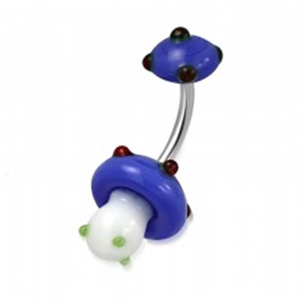 Šperky eshop Piercing do bruška z chirurgickej ocele - bielo-modrá hubka, farebné guličky