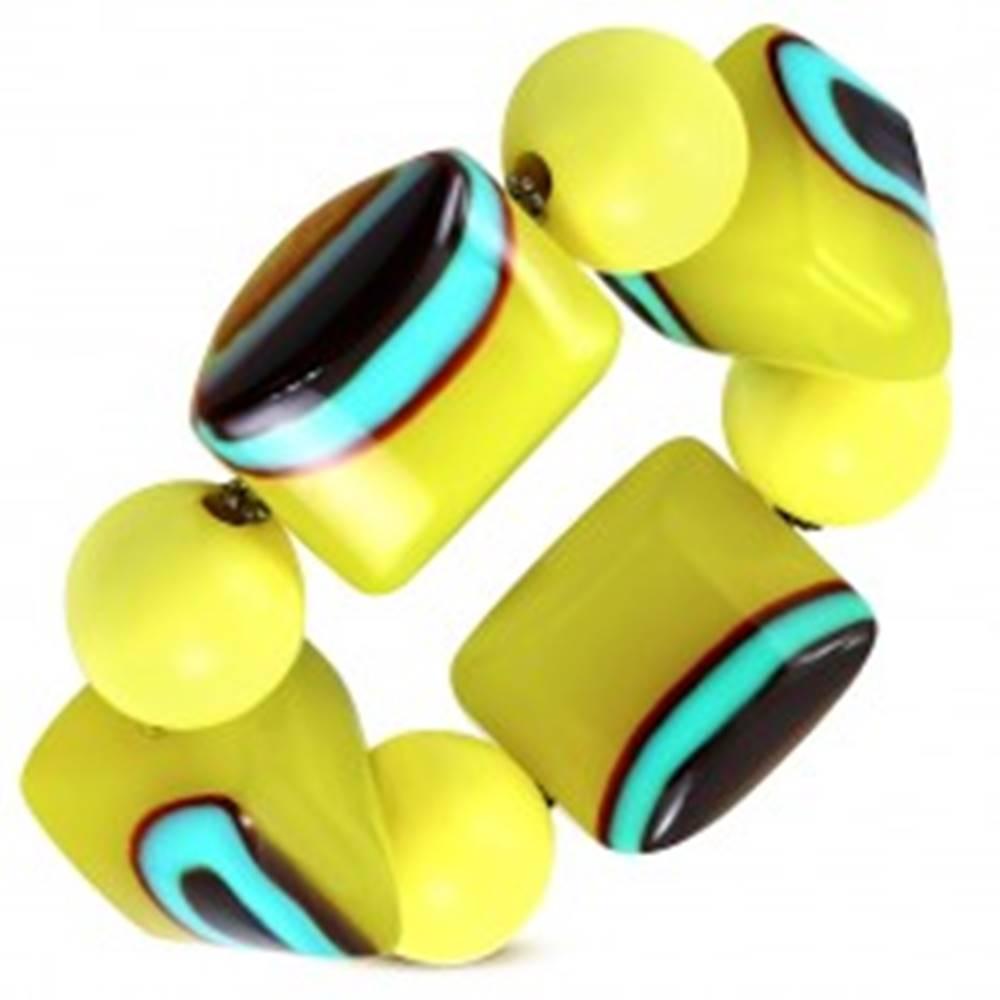 Šperky eshop Rozťahovací náramok - žlté guličky, korálky z mliečneho skla, tyrkysovo-hnedé očká