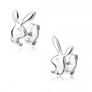 Náušnice z bieleho 9K zlata -  hlava zajačika, zrkadlový lesk
