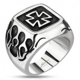 Pečatný prsteň z ocele - keltský kríž s plameňmi a patinou - Veľkosť: 59 mm