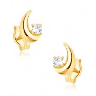 Zlaté náušnice 375 - ligotavý kosák mesiaca, okrúhly číry zirkón