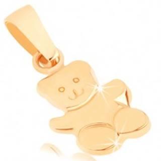 Zlatý prívesok 375 - lesklý mávajúci macko, gravírované detaily tváre