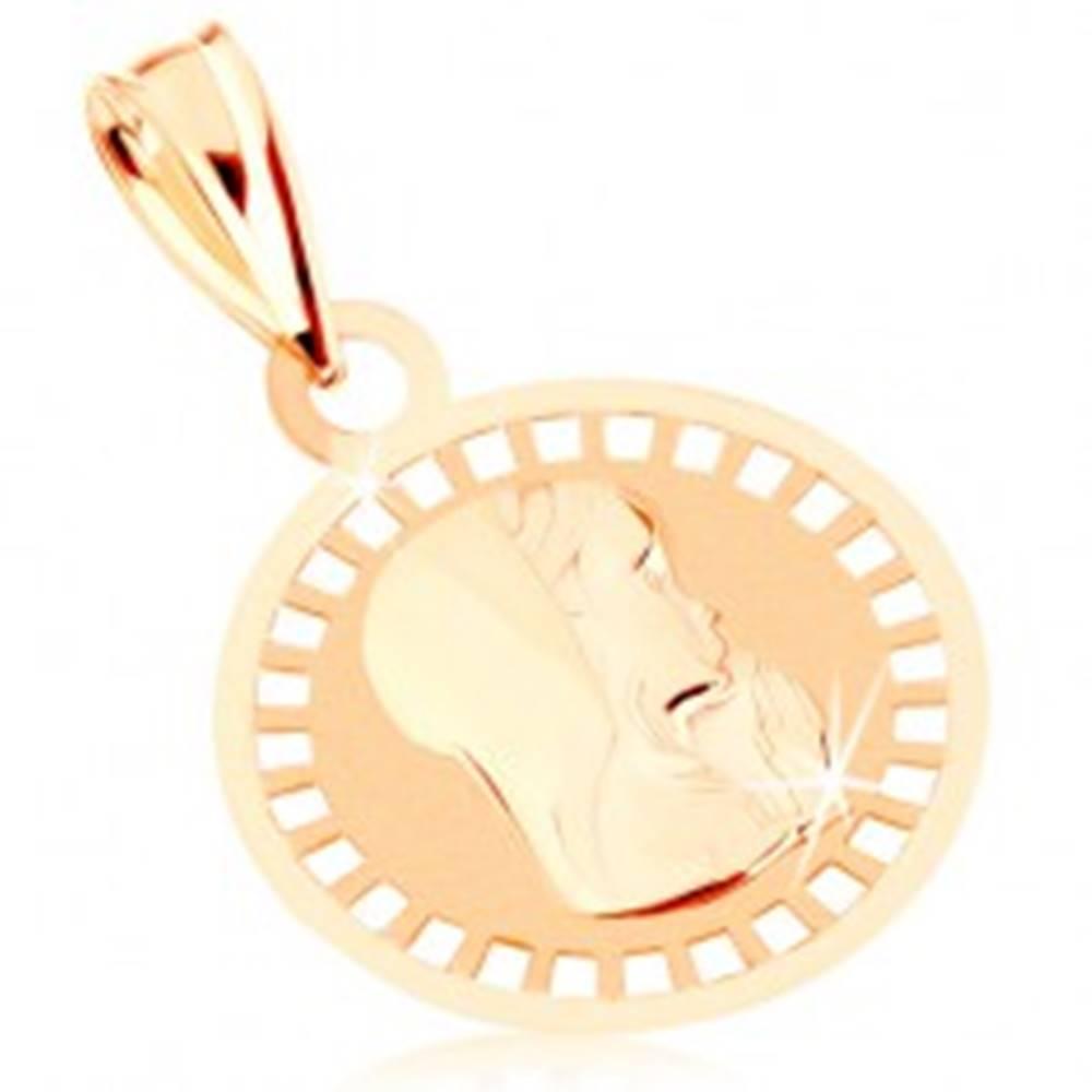 Šperky eshop Prívesok zo žltého 9K zlata - okrúhly medailón s Pannou Máriou, lesklo-matný