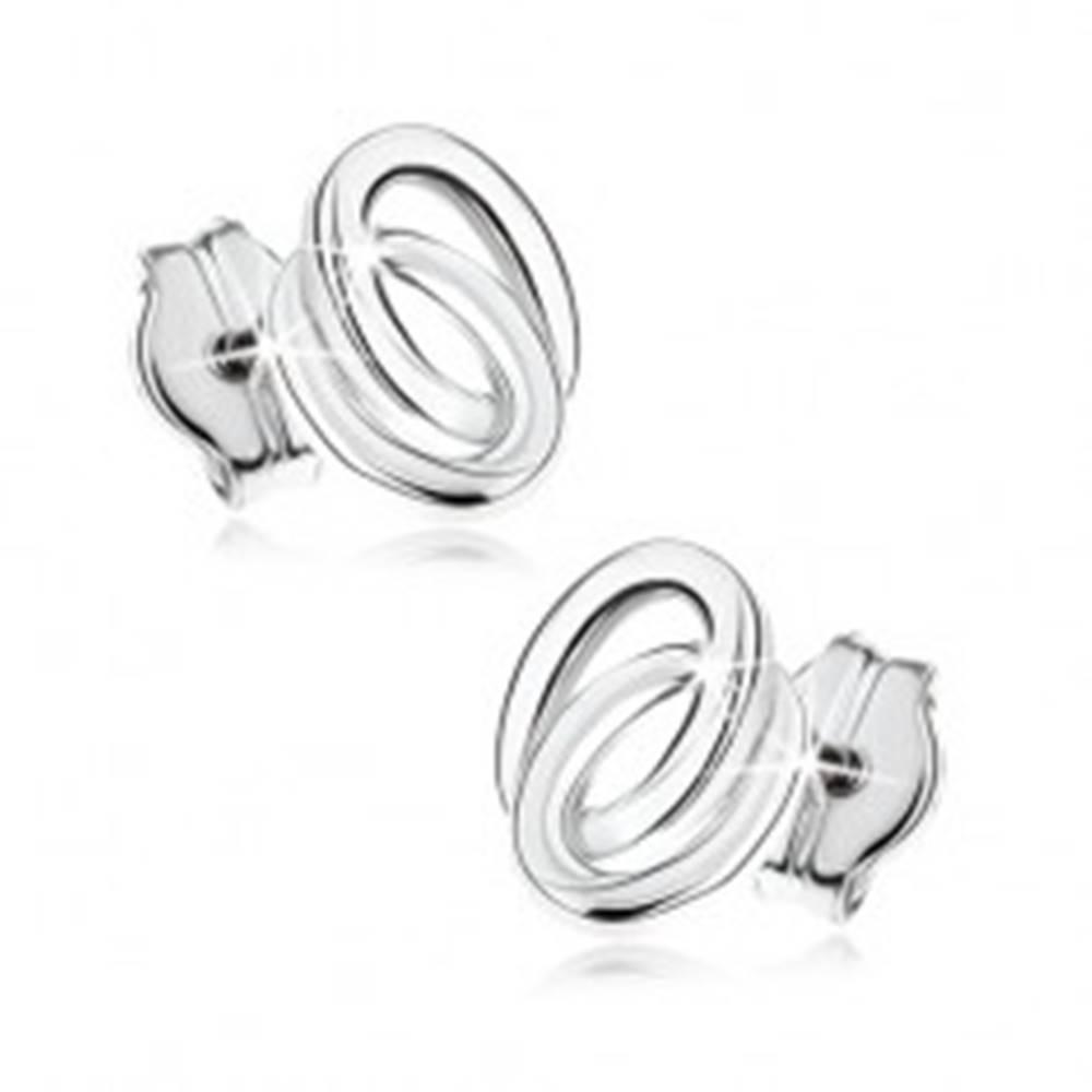 Šperky eshop Puzetové náušnice v bielom 9K zlate - dva prepojené prstence