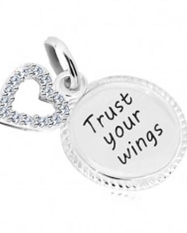"""Strieborný 925 prívesok - krúžok s nápisom """"Trust your wings"""", kontúra srdca so zirkónmi"""