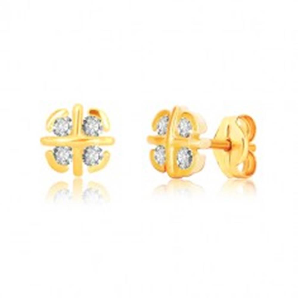 Šperky eshop Náušnice z 9K žltého zlata - kvet s prekríženými líniami a oblúčikmi, zirkóny