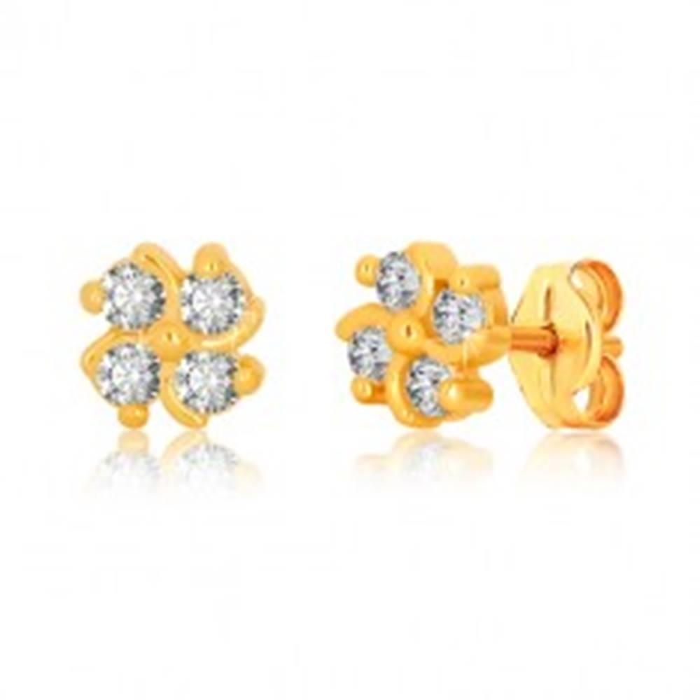Šperky eshop Náušnice zo žltého zlata 375 - kvet so štyrmi zirkónmi a jemne zatočenými líniami
