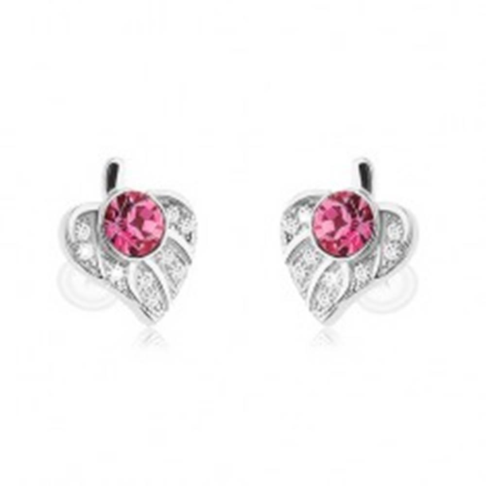 Šperky eshop Strieborné 925 náušnice, asymetrický lístoček zdobený ružovým zirkónom