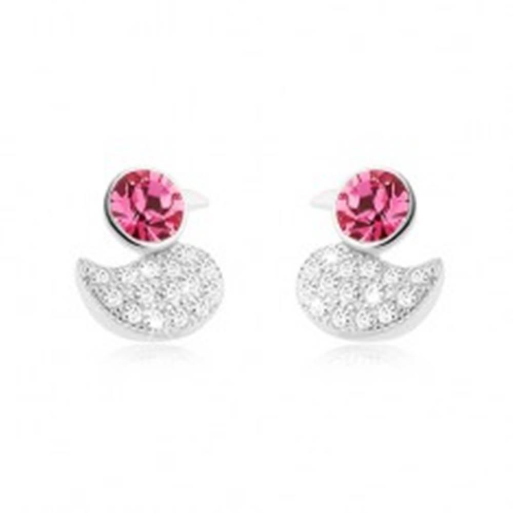 Šperky eshop Strieborné 925 náušnice, trblietavá kačička, okrúhly ružový zirkón