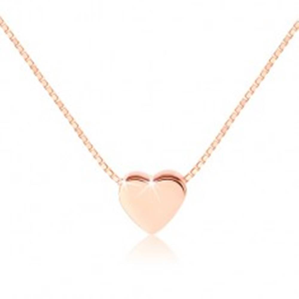Šperky eshop Strieborný 925 náhrdelník, malé lesklé srdiečko, medená farba