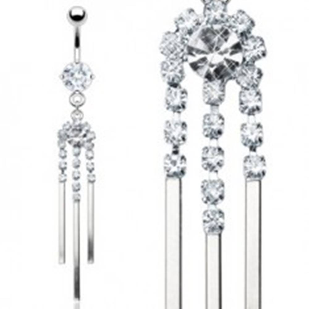 Šperky eshop Luxusný piercing do pupka z ocele so zirkónovou zvonkohrou