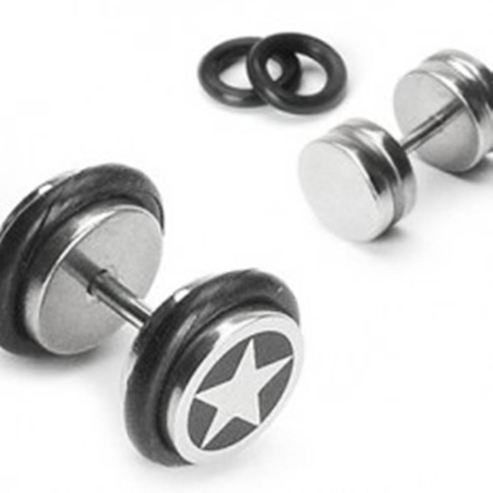 Šperky eshop Piercing falošný s hviezdou na čiernom pozadí a dvoma gumičkami