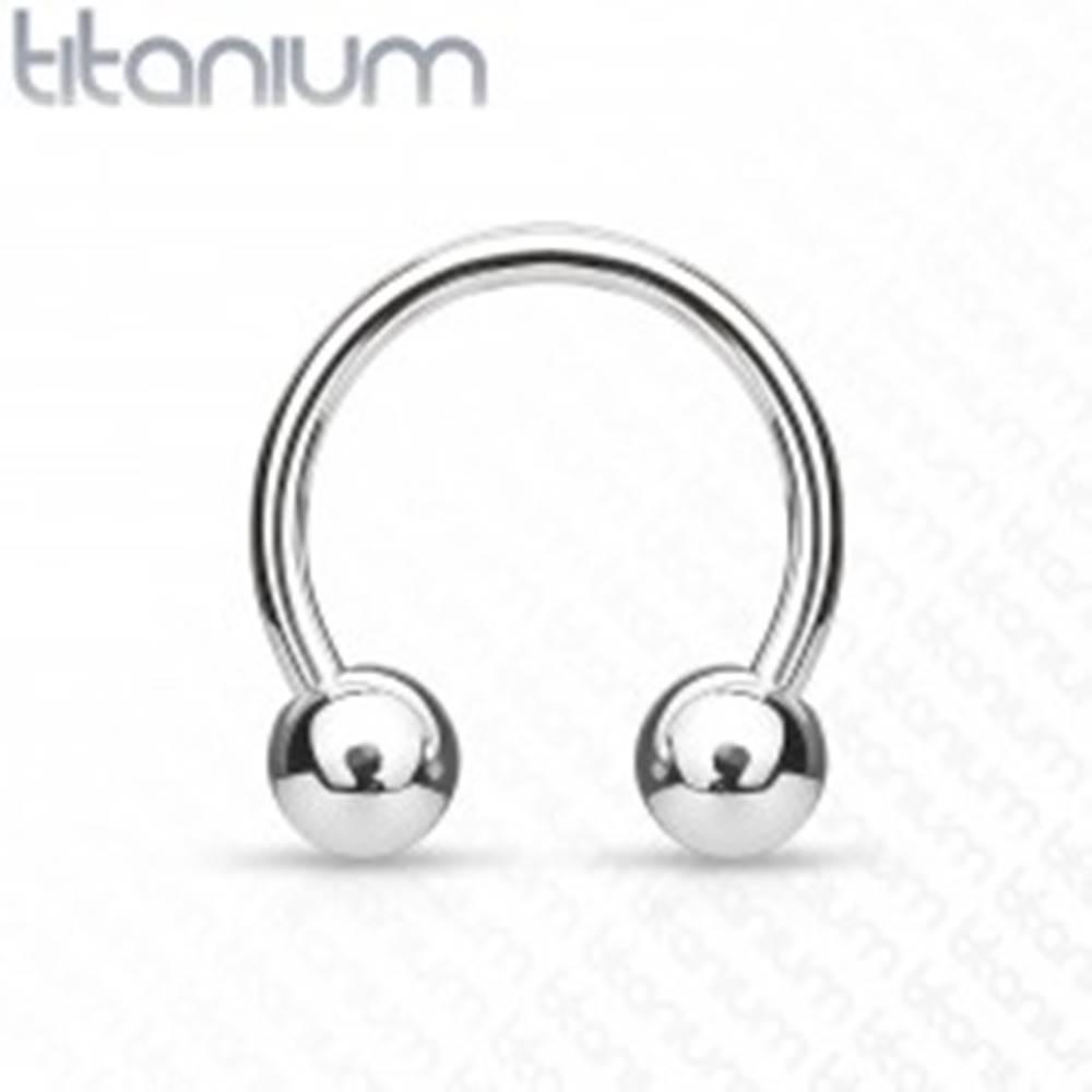 Šperky eshop Titánový piercing - podkova s guličkami - Rozmer: 1,2 mm x 10 mm x 3 mm