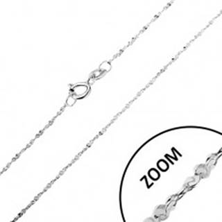 Retiazka zo striebra 925 - zatočená línia, špirálovito spájané očká, šírka 1,2 mm, dĺžka 450 mm