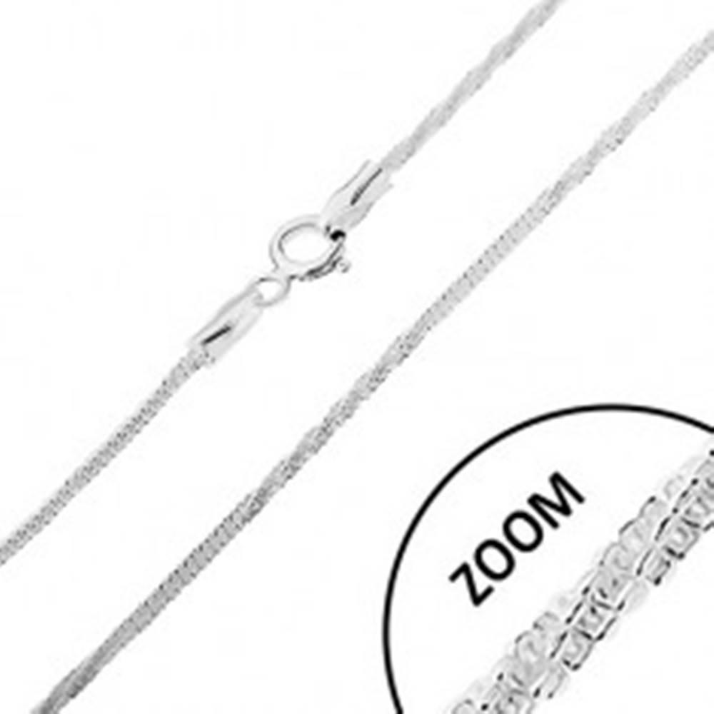 Šperky eshop Strieborná 925 retiazka, vzor hadík - rovné a stočené časti, šírka 1,5 mm, dĺžka 460 mm