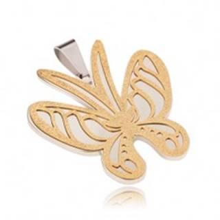 Prívesok zlato-striebornej farby z ocele, motýľ s pieskovaným povrchom