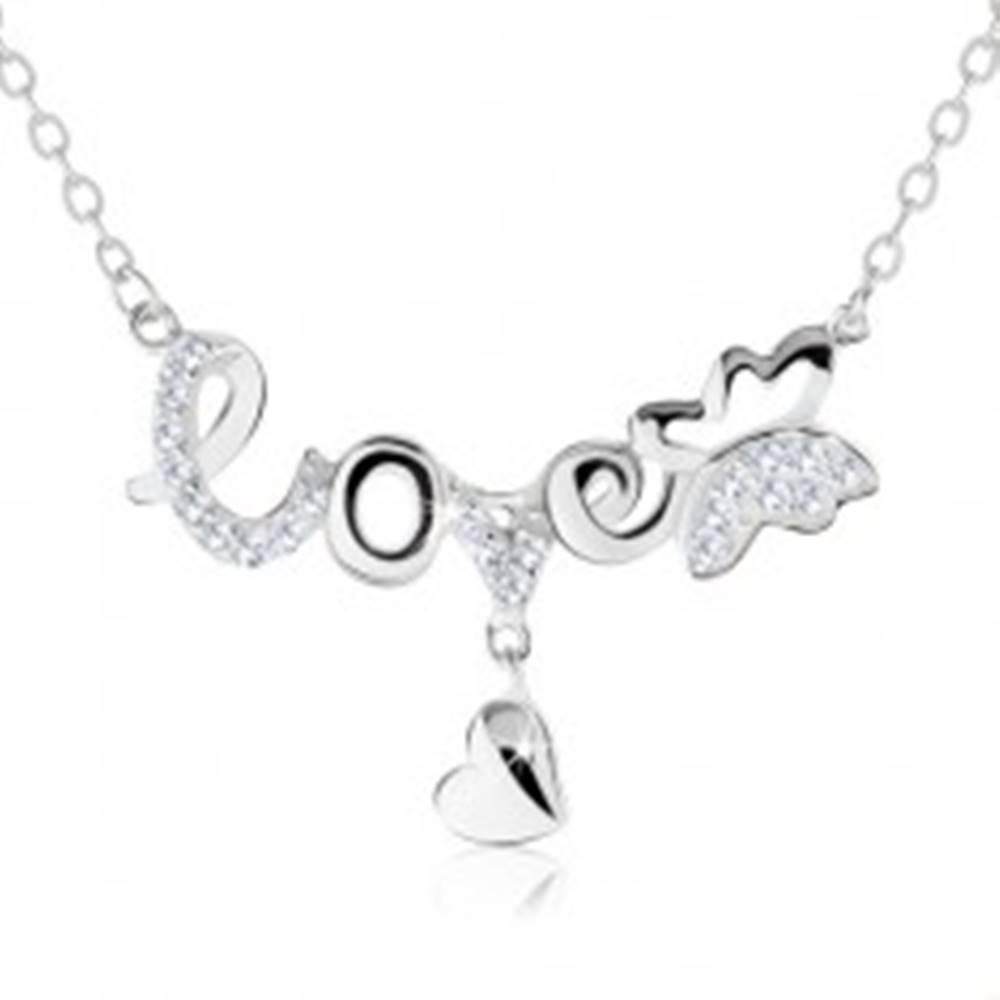 """Šperky eshop Nastaviteľný náhrdelník, nápis """"love"""", motýlik, visiace srdiečko, striebro 925"""