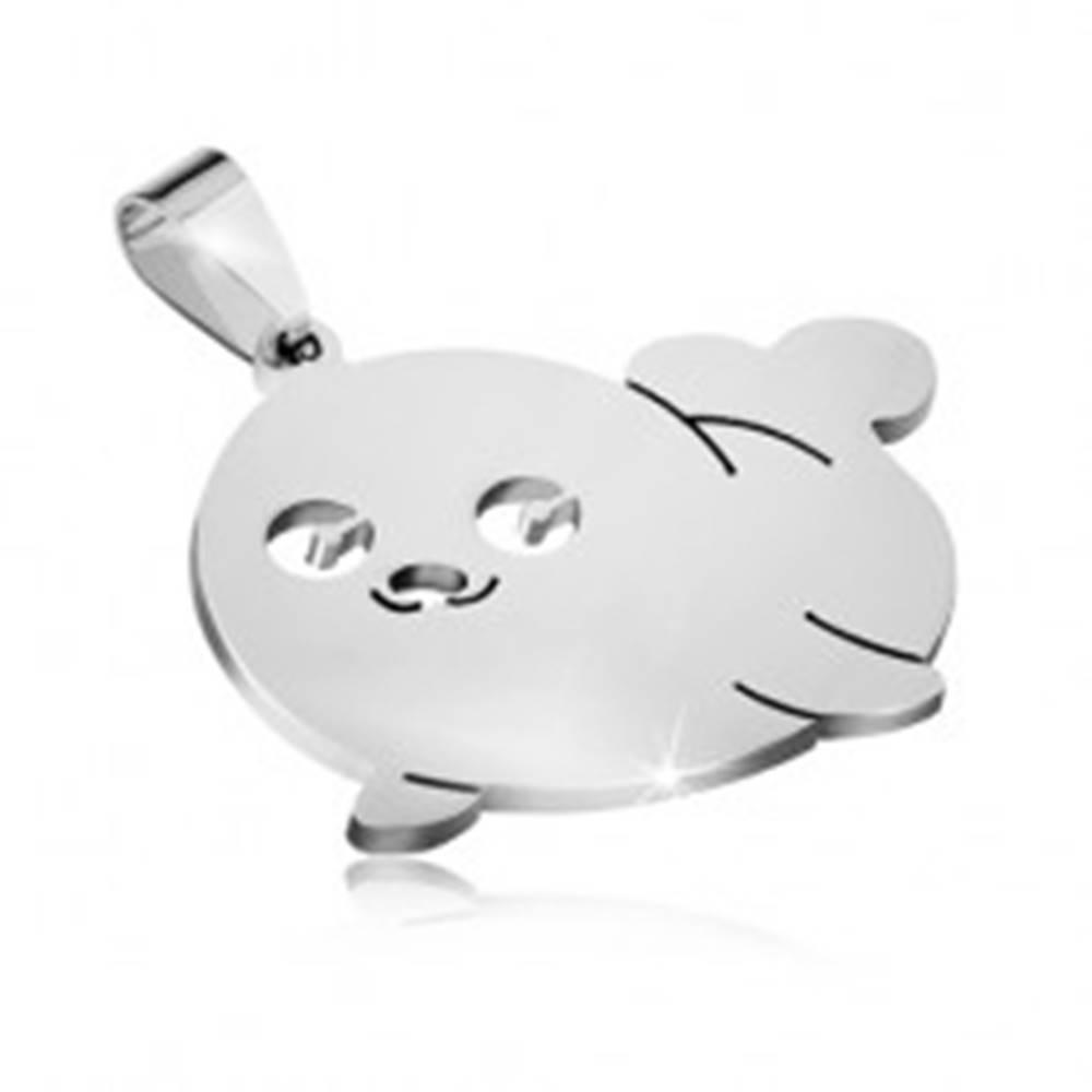 Šperky eshop Prívesok z chirurgickej ocele striebornej farby, tulenie mláďa