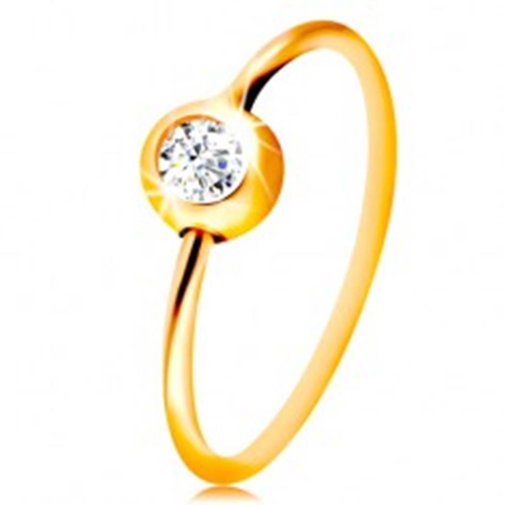 Šperky eshop Zlatý 14K piercing do nosa - žlté zlato, lesklý krúžok s čírym zirkónom v objímke