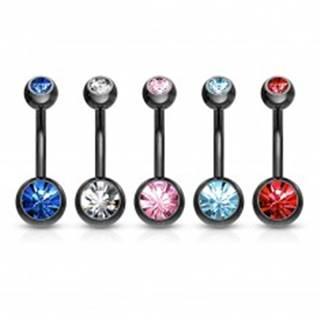 Piercing do bruška z ocele 316L - banán čiernej farby, farebné zirkóny, dĺžka 10 mm - Farba zirkónu: Aqua modrá - Q
