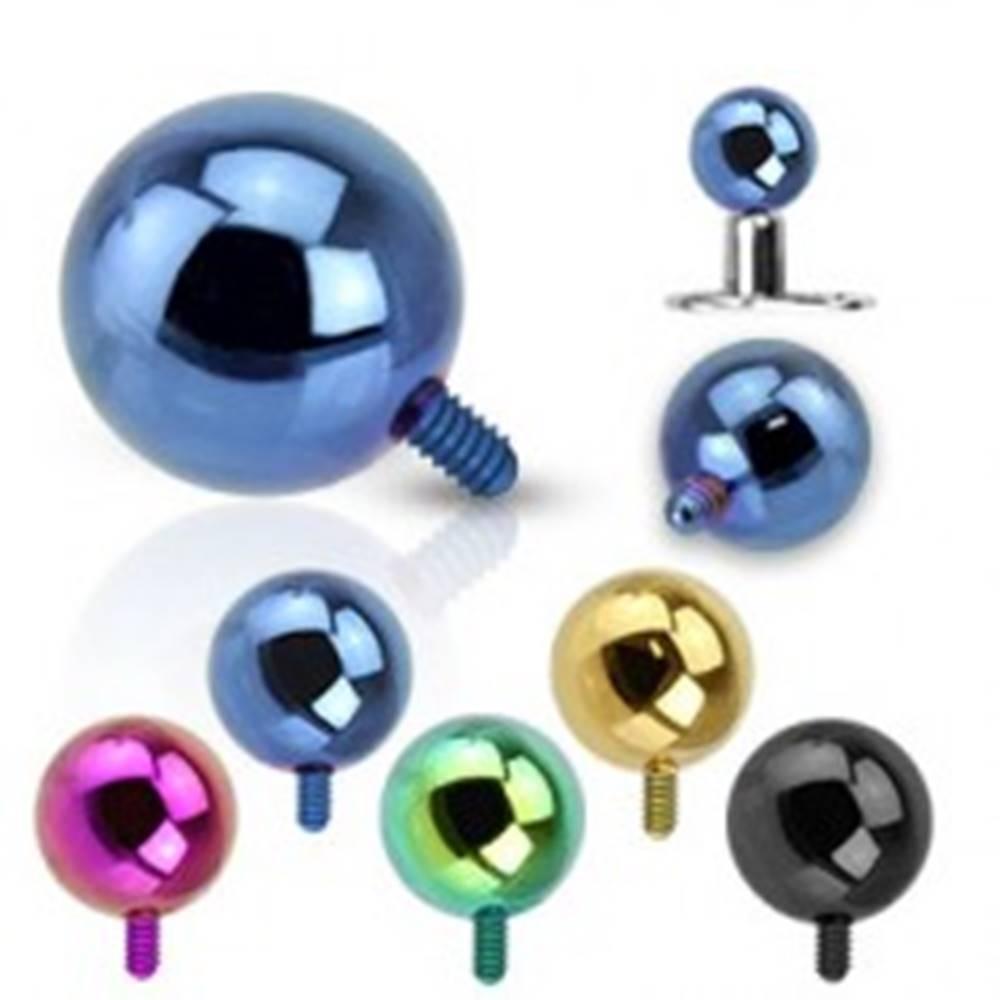 Šperky eshop Gulička do implantátu z ocele 316L - anodizovaný povrch, rôzne farby, 5 mm - Farba piercing: Zelená
