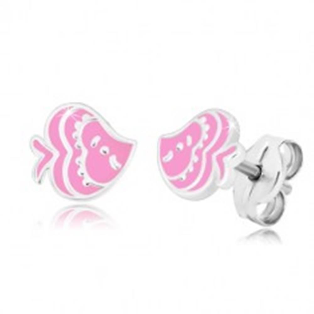 Šperky eshop Náušnice so zvieracím motívom - rybka s glazúrou ružovej farby, striebro 925