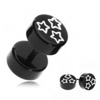 Falošný akrylový piercing do ucha - biele hviezdy na čiernom koliesku