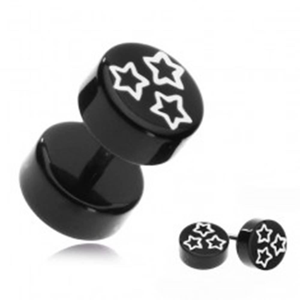 Šperky eshop Falošný akrylový piercing do ucha - biele hviezdy na čiernom koliesku
