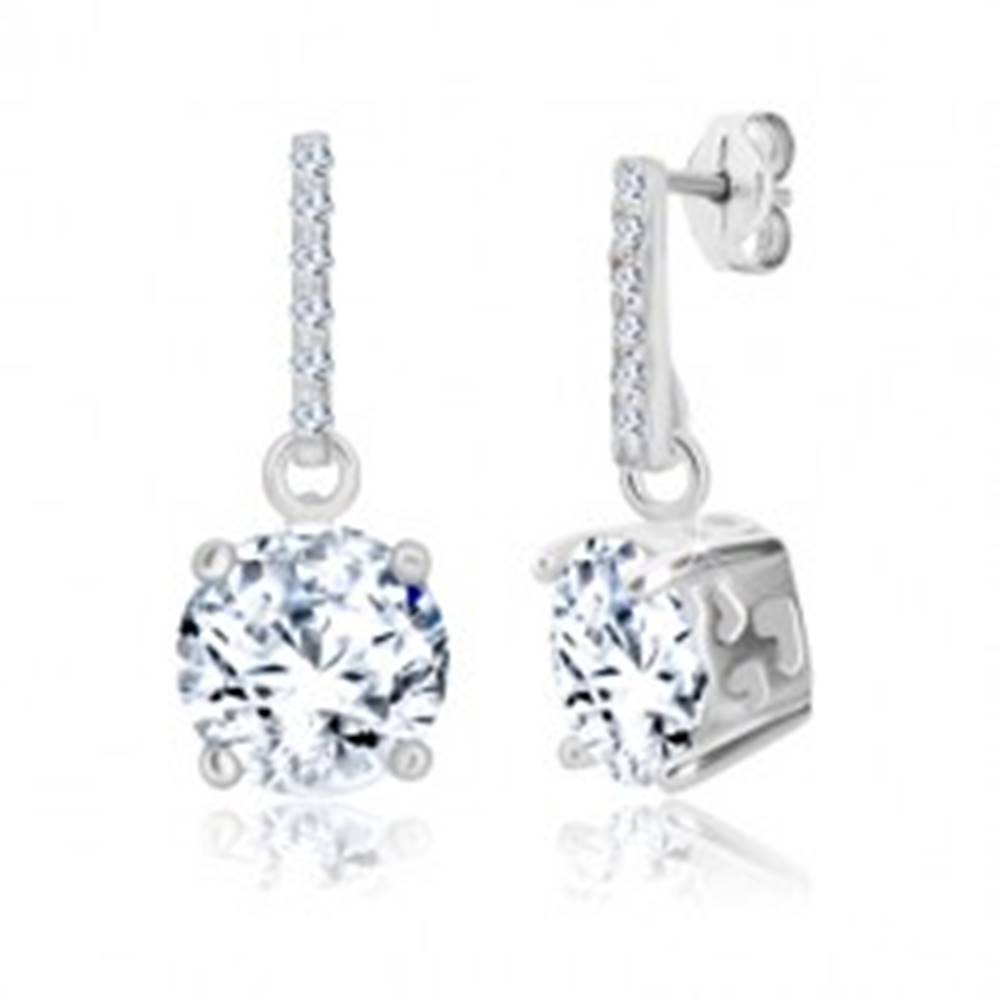 Šperky eshop Strieborné náušnice 925 - zirkónová línia a trblietavý zirkón, srdiečkové výrezy