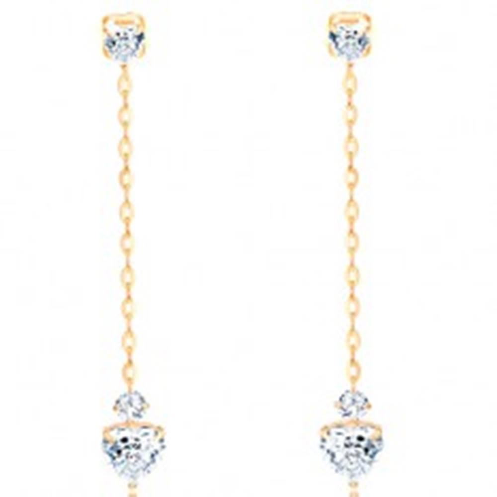 Šperky eshop Visiace náušnice zo žltého 14K zlata - číre zirkónové srdiečka, retiazka