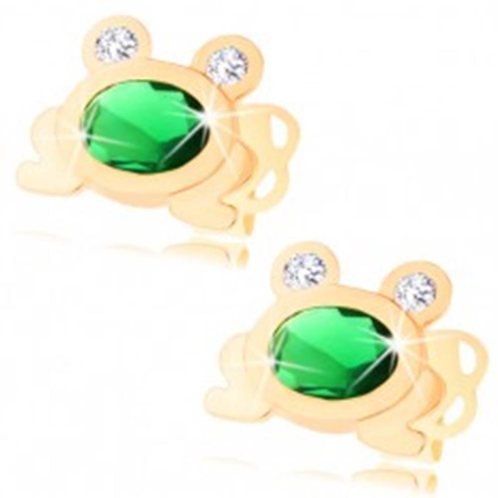 Šperky eshop Zlaté náušnice 585 - malá ligotavá žabka so zeleným oválom a čírymi očami