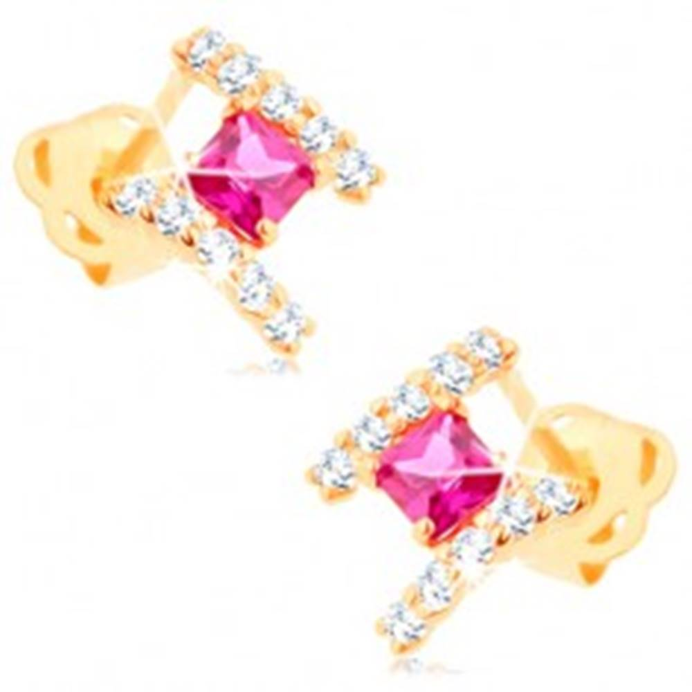 Šperky eshop Zlaté náušnice 585 - oblúčiky čírych zirkónov, vybrúsený ružový štvorček