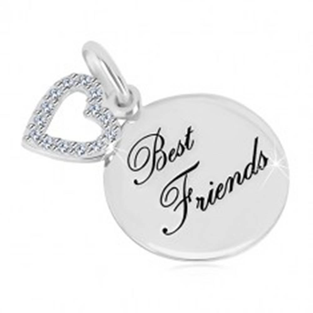 """Šperky eshop Strieborný prívesok 925 - lesklý kruh, nápis """"Best Friends"""", kontúra srdca so zirkónmi"""