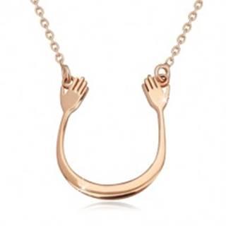 Strieborný 925 náhrdelník v ružovozlatom odtieni - lesklý oblúčik a dve ruky