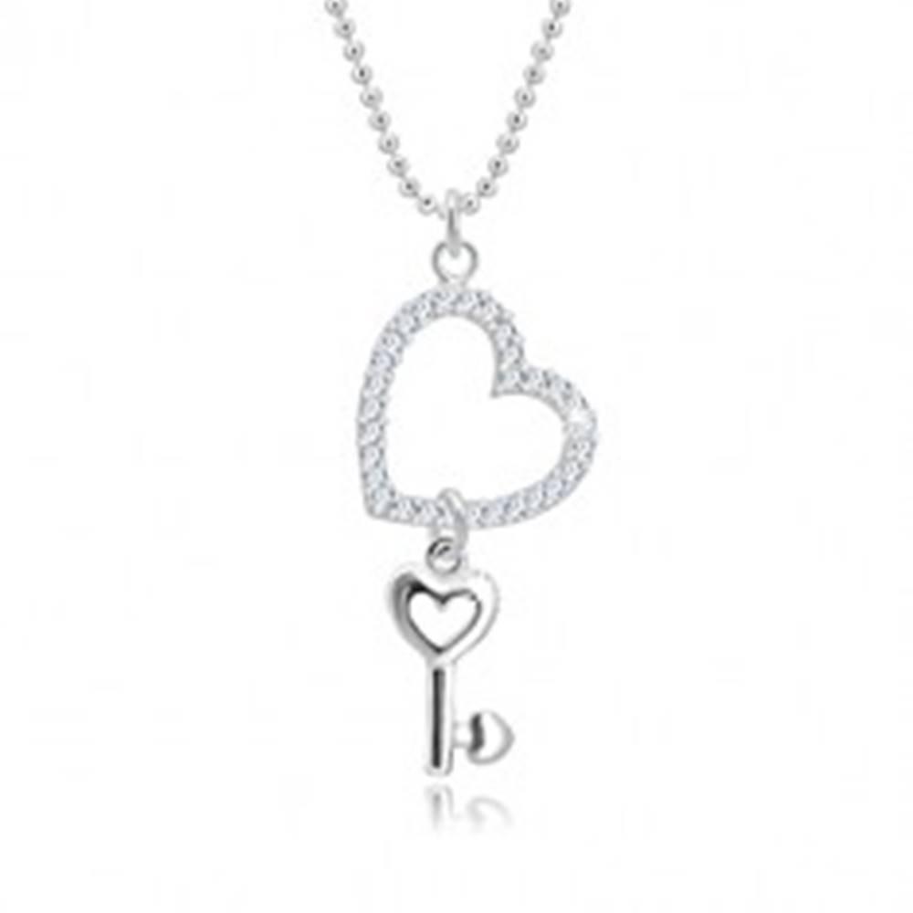 Šperky eshop Náhrdelník zo striebra 925 - armádna retiazka, obrys srdca so zirkónmi, srdiečkový kľúč
