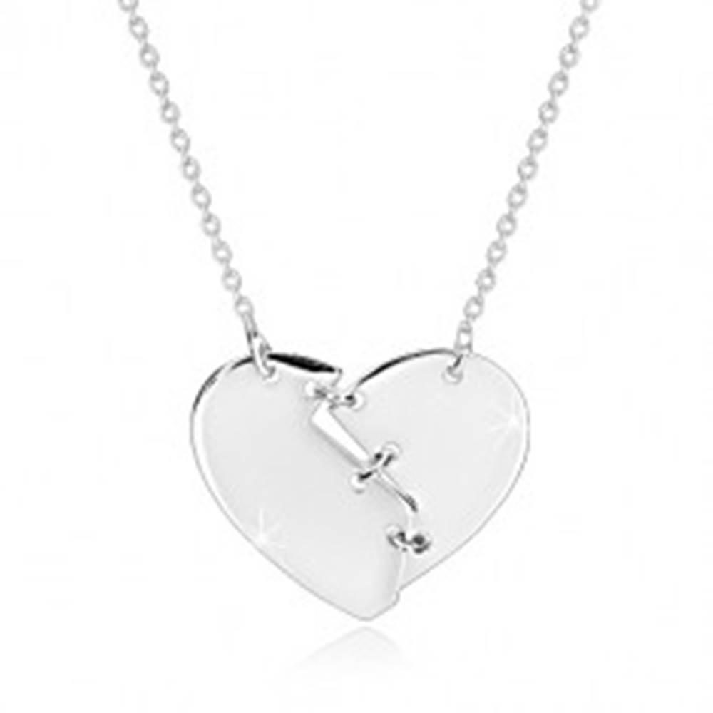 Šperky eshop Náhrdelník zo striebra 925 - zlomené srdce zošité tromi stehmi, zrkadlovolesklý povrch