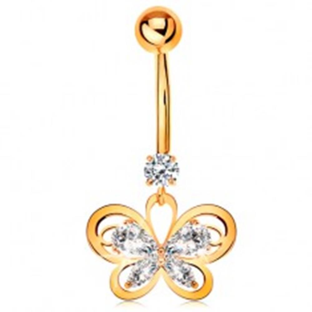 Šperky eshop Piercing do pupka zo žltého 14K zlata - kontúra motýľa s čírymi zirkónmi