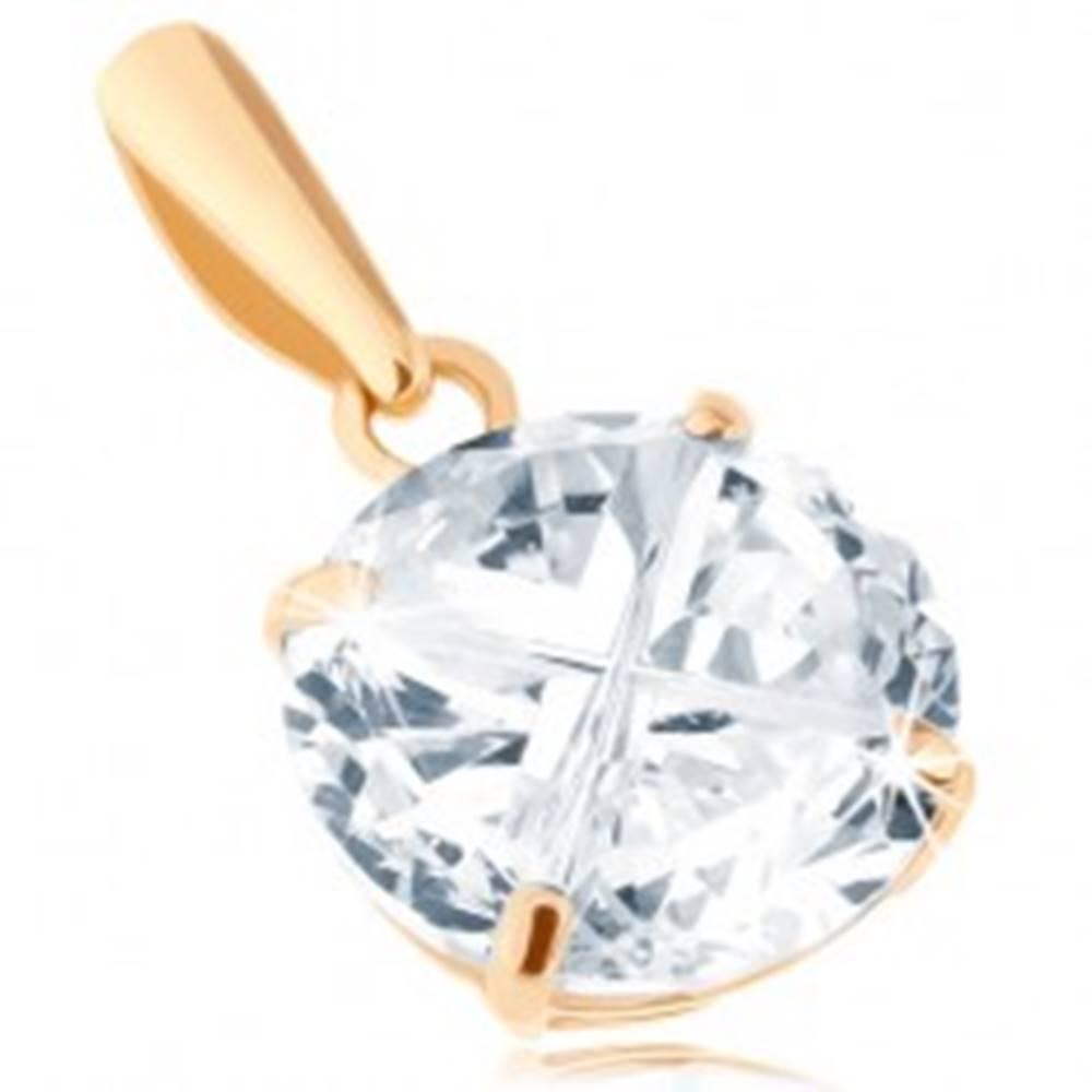 Šperky eshop Prívesok v žltom 14K zlate - okrúhly zirkón čírej farby, brúsený povrch, 8 mm